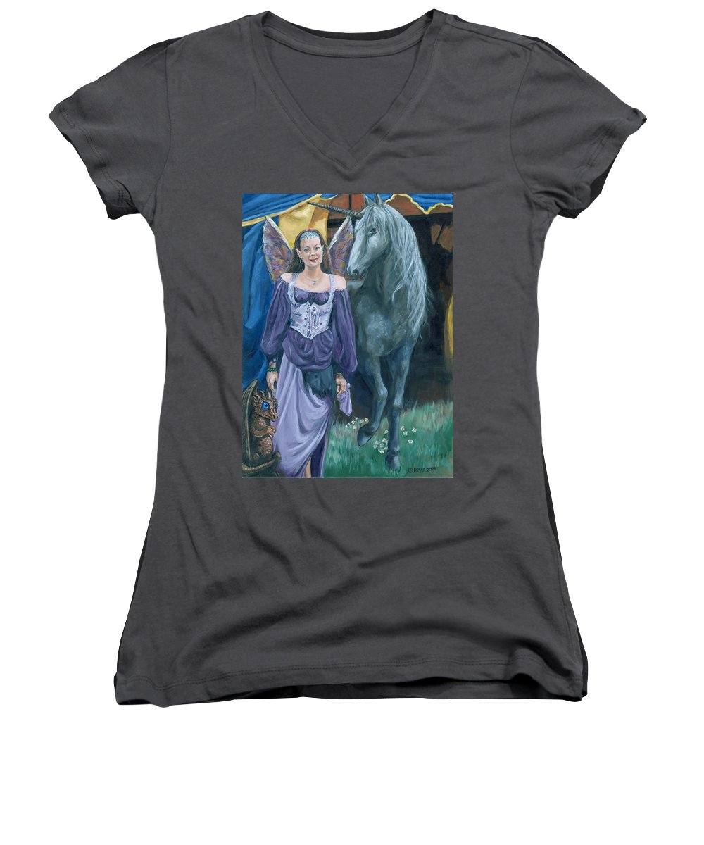 Fairy Faerie Unicorn Dragon Renaissance Festival Women's V-Neck T-Shirt featuring the painting Medieval Fantasy by Bryan Bustard