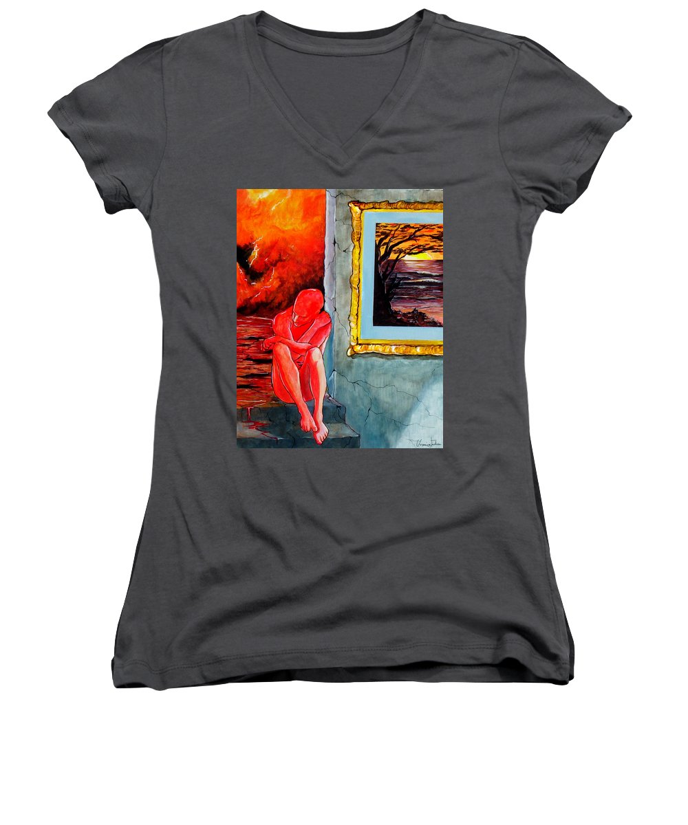 War Sunset Bombs Explosion Wait Loneliness Frustration Women's V-Neck T-Shirt featuring the painting Memoirs Of A Bloody Sunset by Veronica Jackson