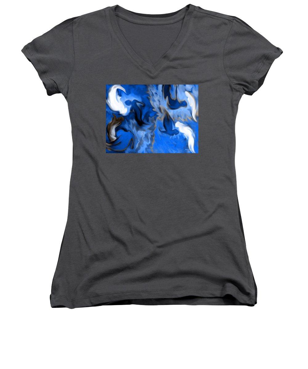 Mermaids Women's V-Neck T-Shirt featuring the digital art Mermaids by Shelley Jones