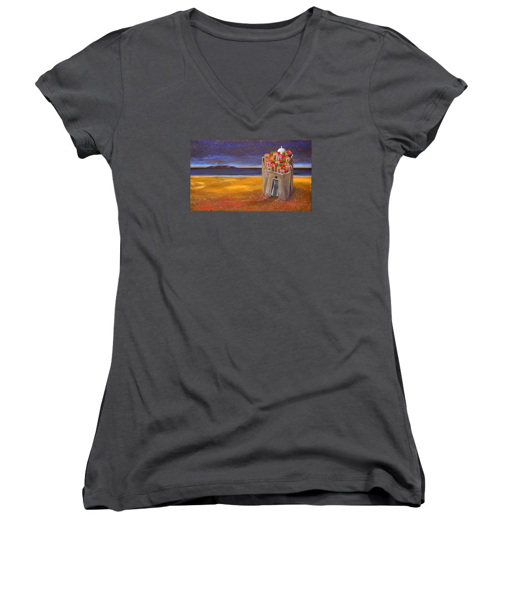 Superrealism Women's V-Neck T-Shirt featuring the painting Mesi Castle Village by Dimitris Milionis