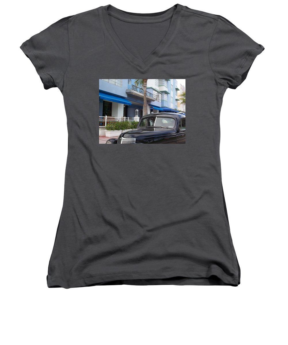 Charity Women's V-Neck T-Shirt featuring the photograph Miami Beach by Mary-Lee Sanders
