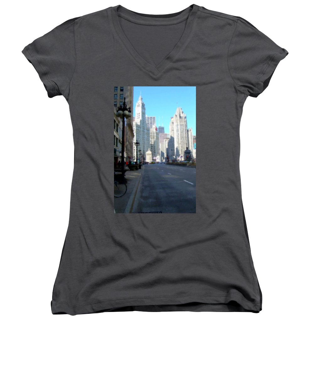 Chicago Women's V-Neck (Athletic Fit) featuring the digital art Michigan Ave Tall by Anita Burgermeister