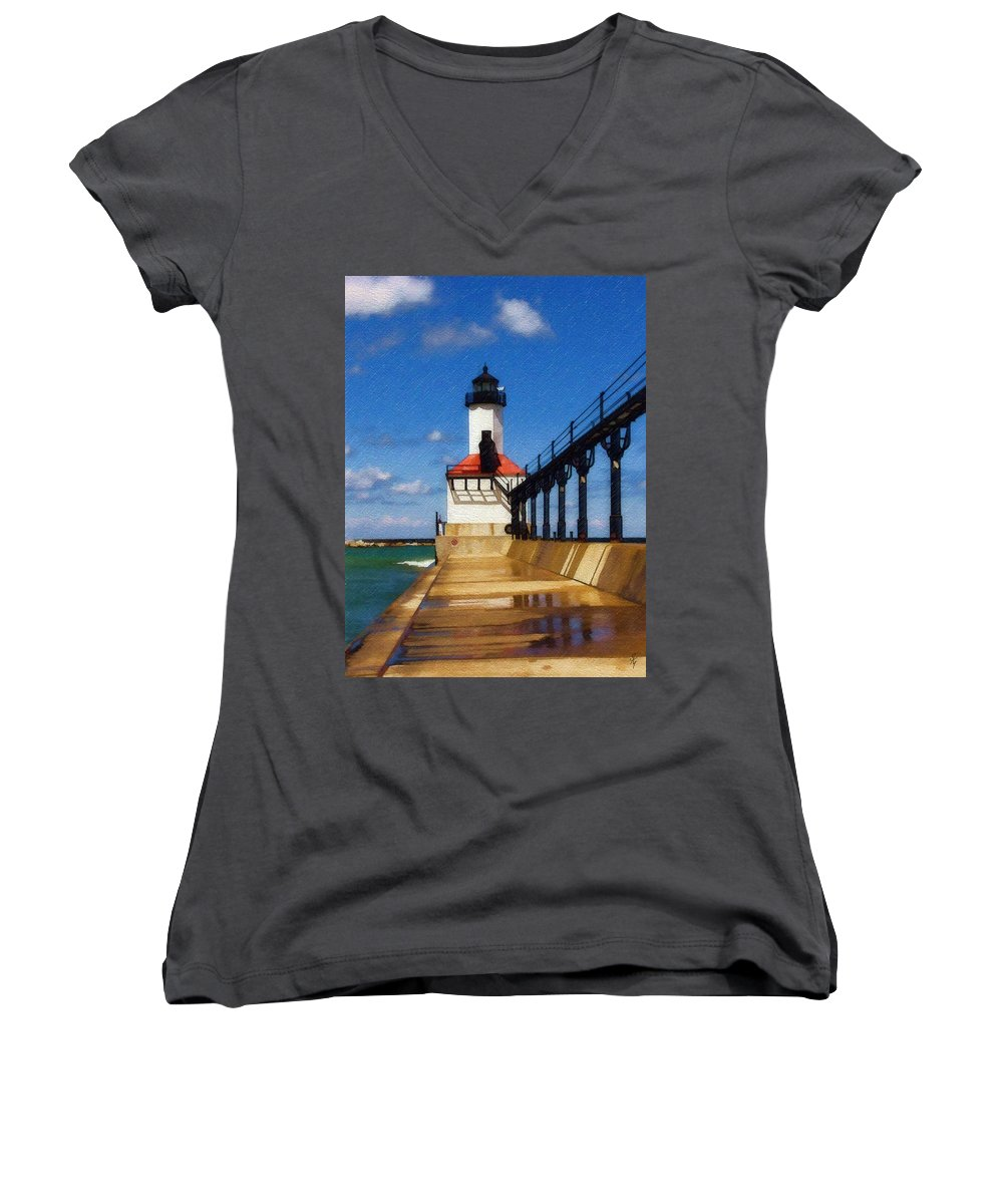 Lighthouse Women's V-Neck T-Shirt featuring the photograph Michigan City Light 1 by Sandy MacGowan