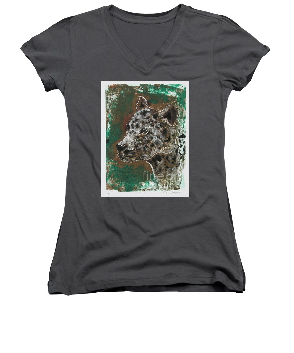 Monotype Women's V-Neck T-Shirt featuring the mixed media Midnight Prowler by Cori Solomon