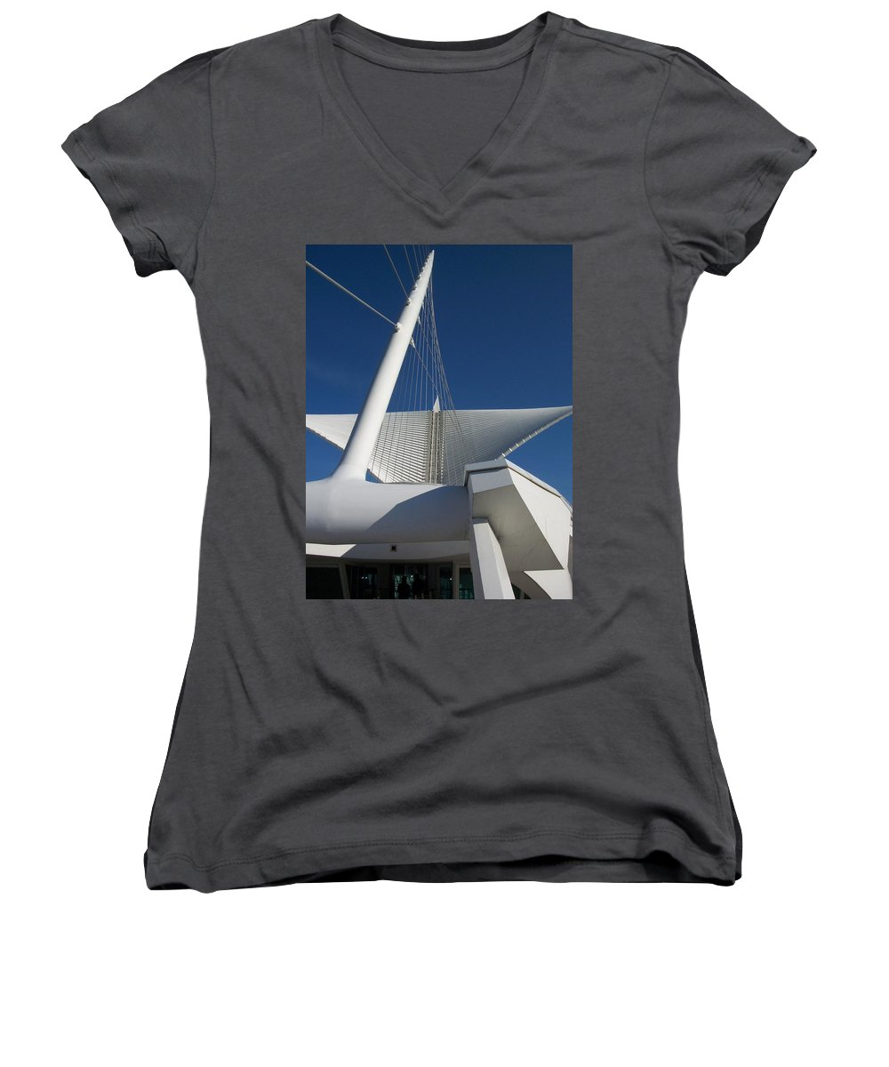 Mam Women's V-Neck (Athletic Fit) featuring the photograph Milwaukee Art Museum Cropped by Anita Burgermeister