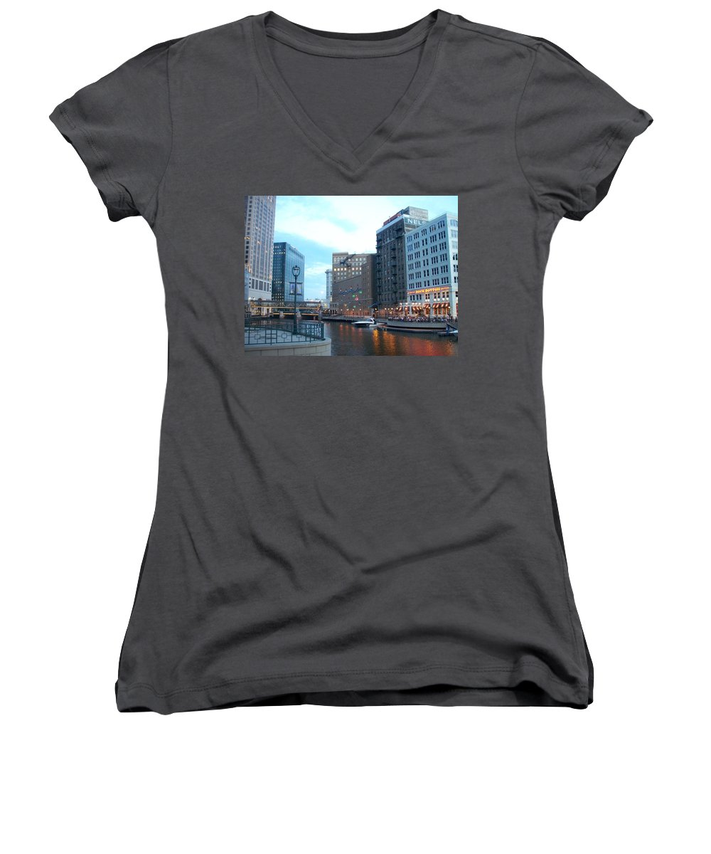 Milwaukee Women's V-Neck (Athletic Fit) featuring the photograph Milwaukee River Walk by Anita Burgermeister