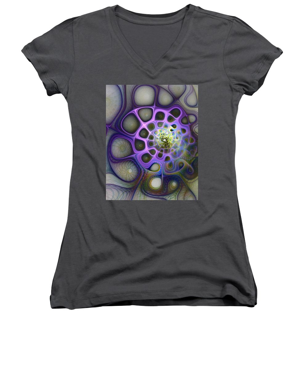 Digital Art Women's V-Neck T-Shirt featuring the digital art Mindscapes by Amanda Moore
