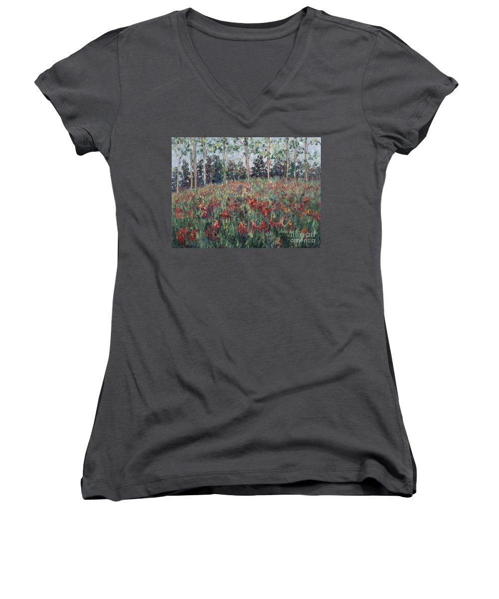 Landscape Women's V-Neck T-Shirt featuring the painting Minnesota Wildflowers by Nadine Rippelmeyer