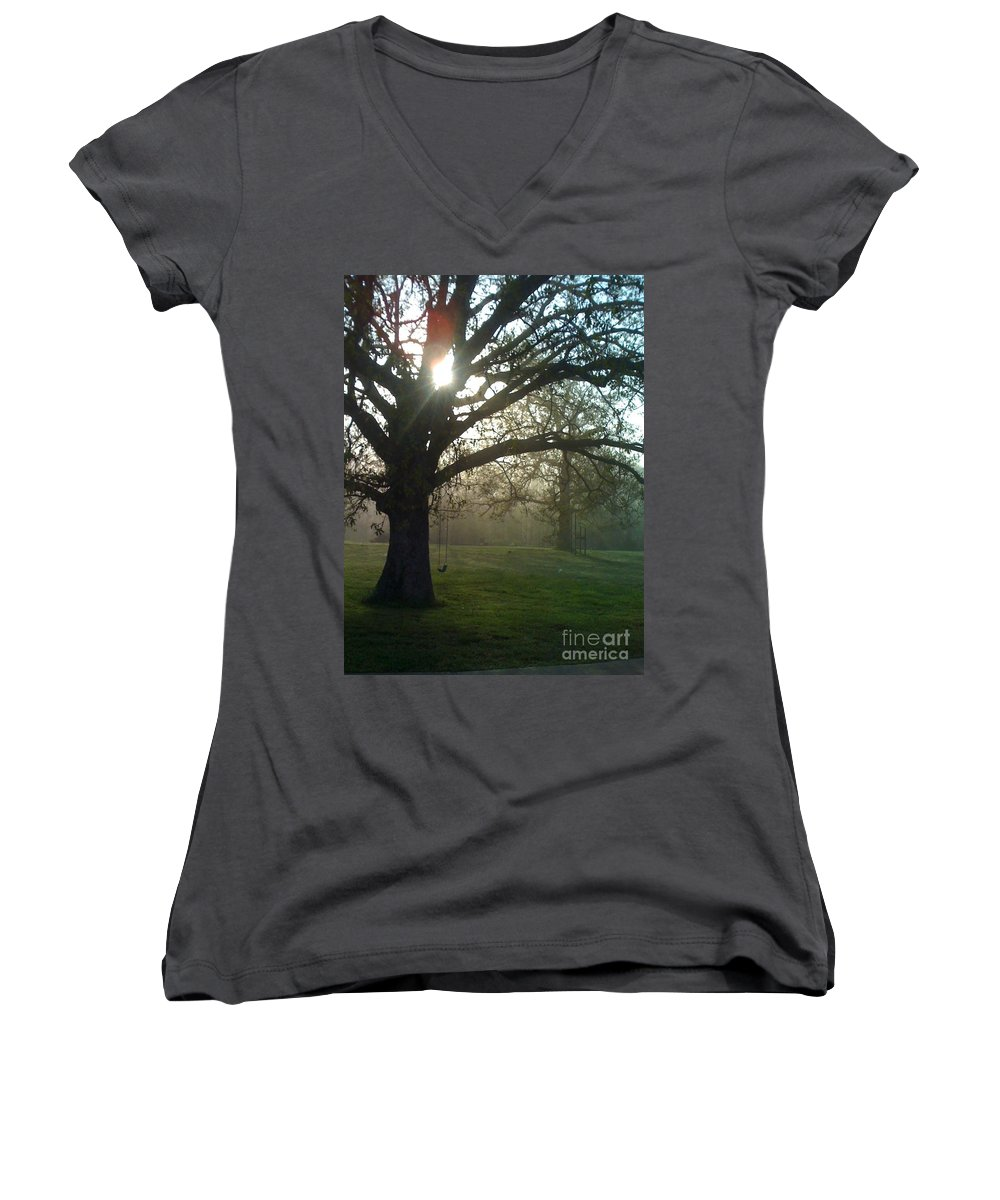 Mist Women's V-Neck (Athletic Fit) featuring the photograph Misty Morning by Nadine Rippelmeyer