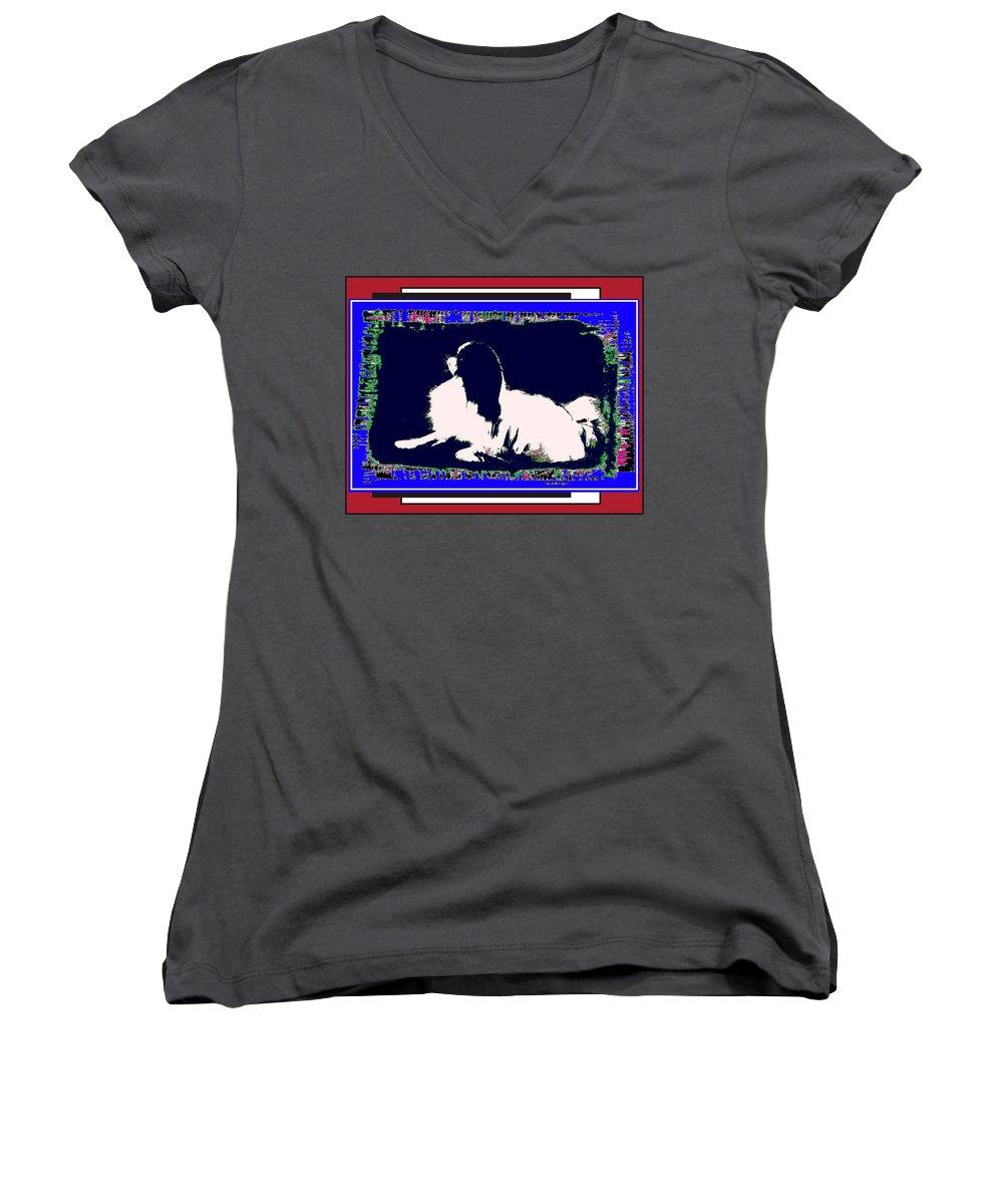 Mod Dog Women's V-Neck T-Shirt featuring the digital art Mod Dog by Kathleen Sepulveda
