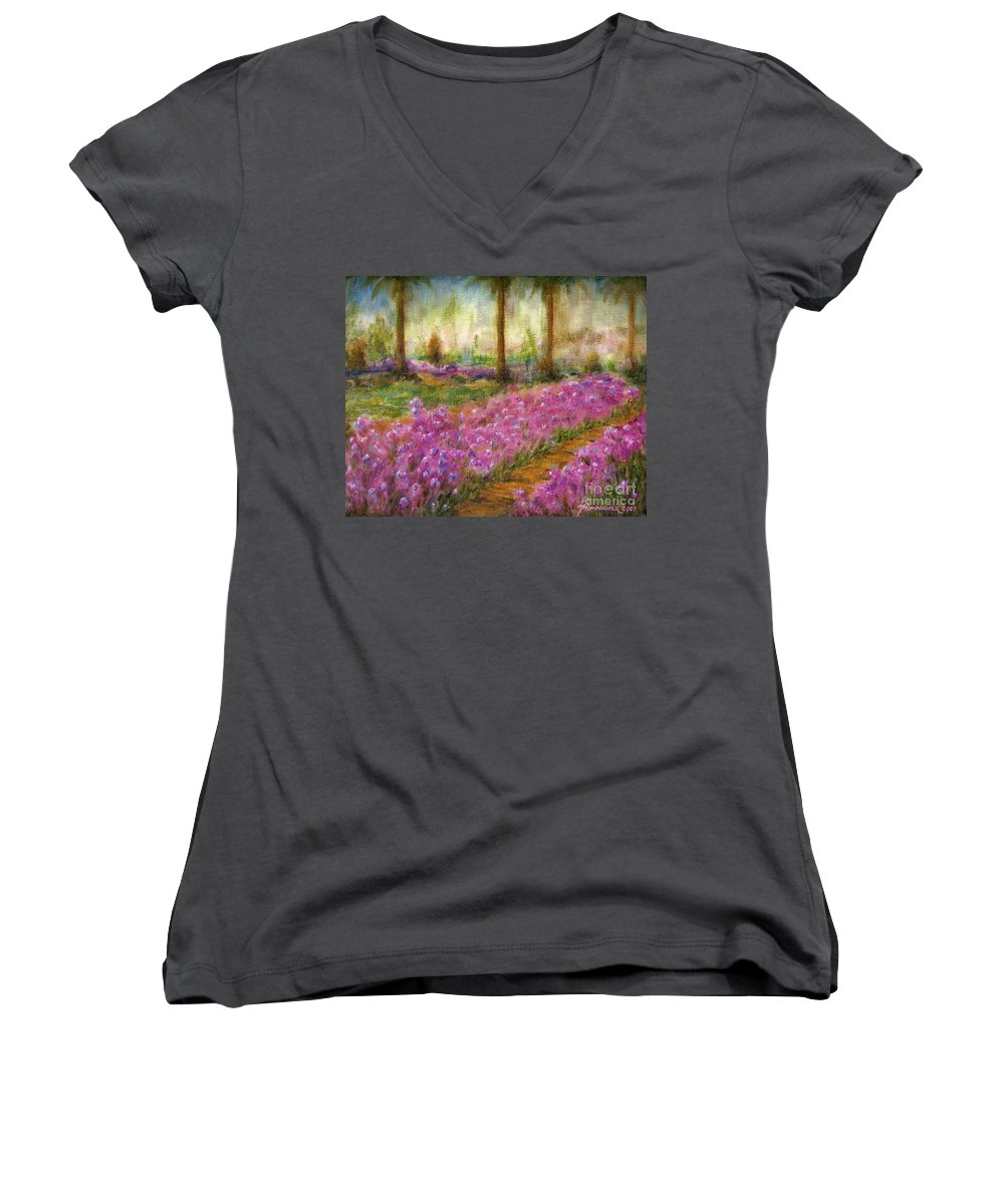 Monet Women's V-Neck T-Shirt featuring the painting Monet's Garden In Cannes by Jerome Stumphauzer