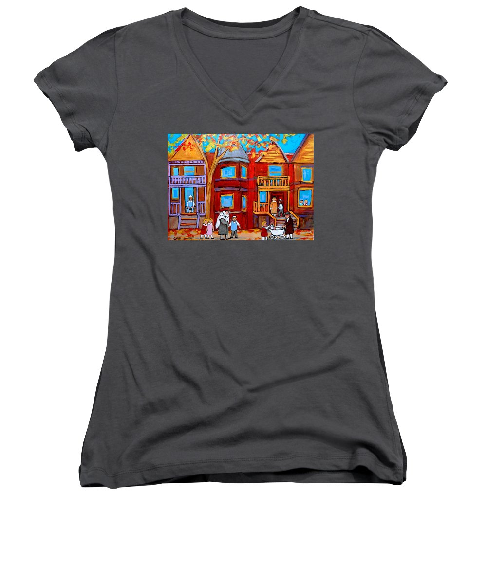 Outremont Women's V-Neck (Athletic Fit) featuring the painting Montreal Memories Of Zaida And The Family by Carole Spandau