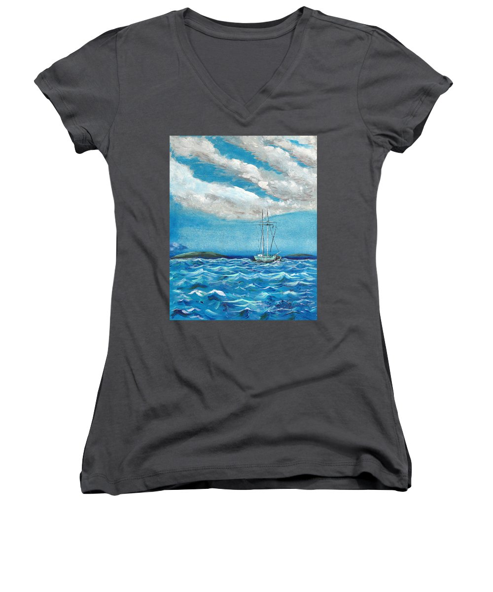 Impressionism Women's V-Neck T-Shirt featuring the painting Moored In The Bay by J R Seymour