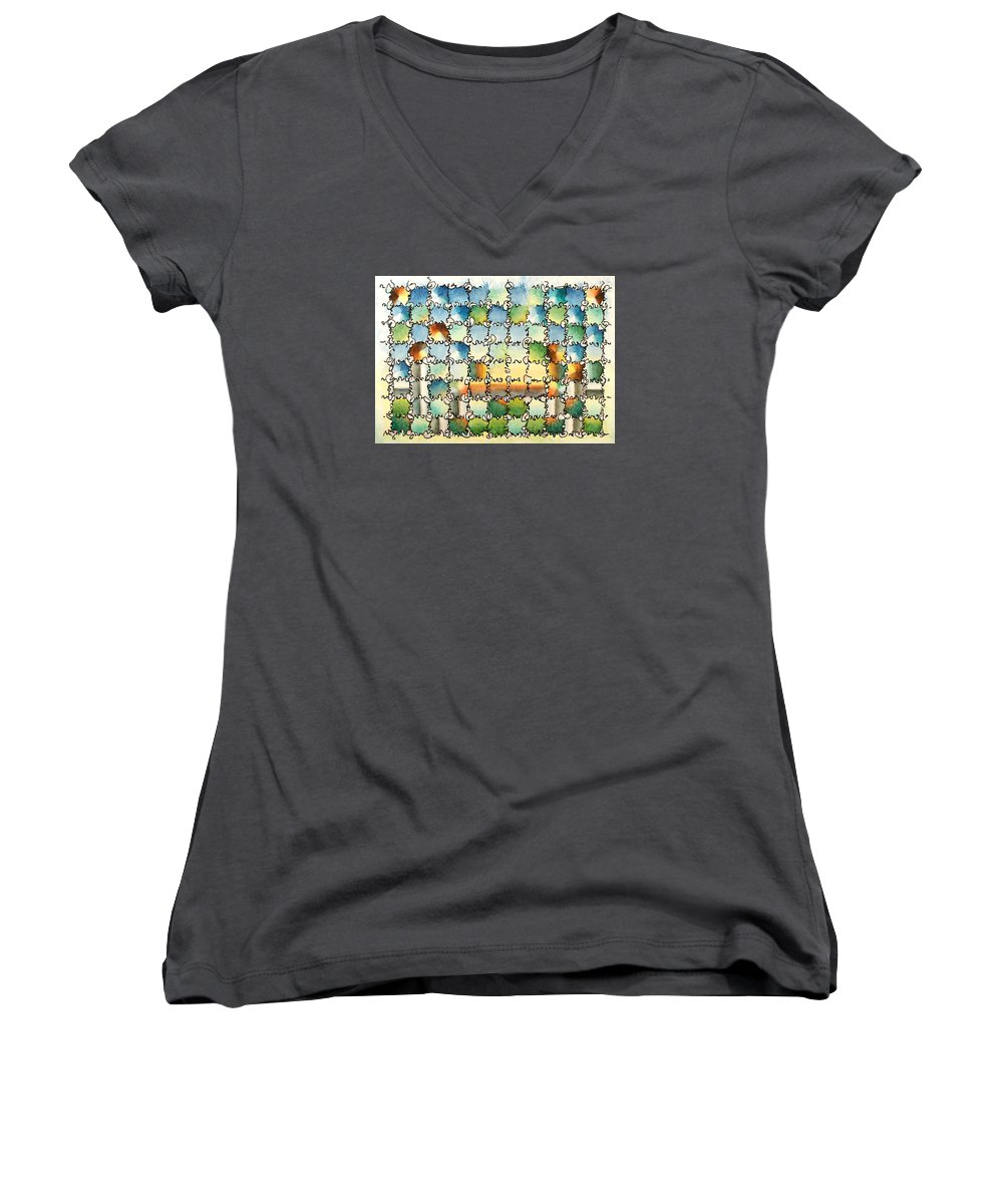 Watercolor Women's V-Neck (Athletic Fit) featuring the painting Morning Gateway by Dave Martsolf