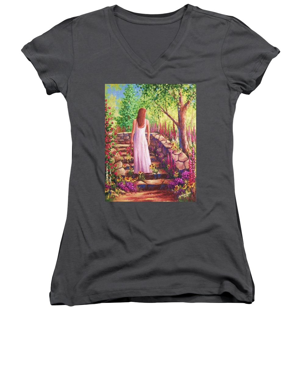 Woman Women's V-Neck (Athletic Fit) featuring the painting Morning In Her Garden by David G Paul