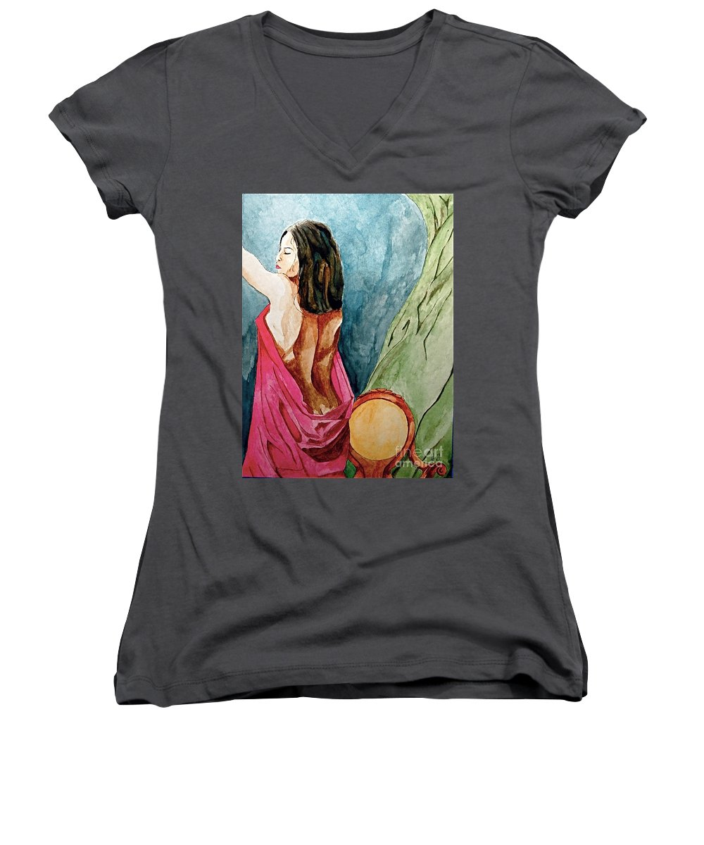 Nudes Women Women's V-Neck (Athletic Fit) featuring the painting Morning Light by Herschel Fall