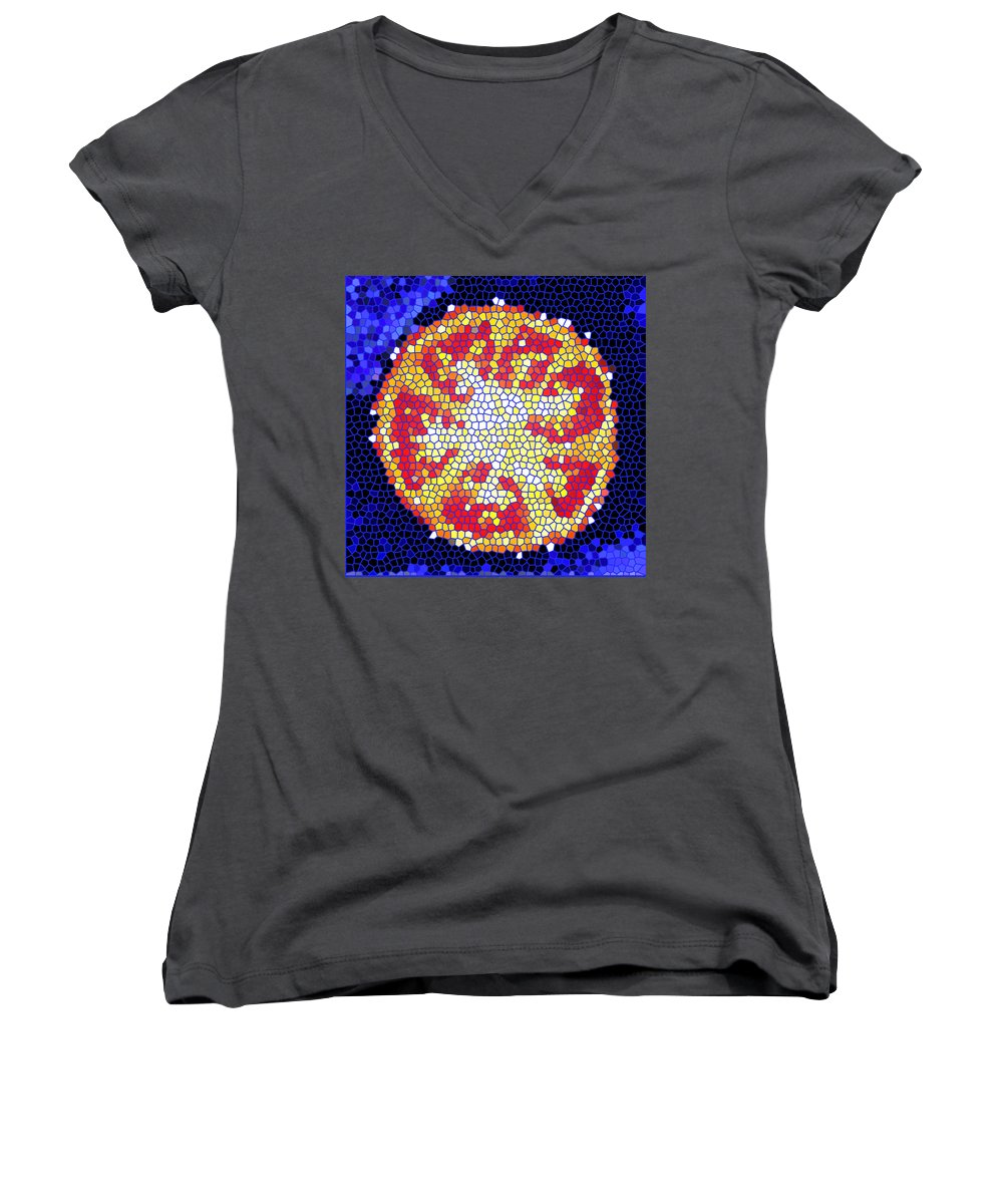 Tomato Women's V-Neck (Athletic Fit) featuring the photograph Mosaic Tomato by Nancy Mueller