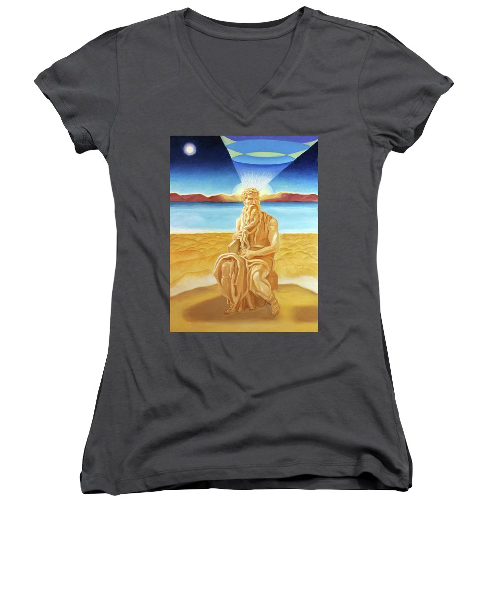 Biblical Women's V-Neck featuring the painting Moshe Rabbenu by Suzanne Cerny