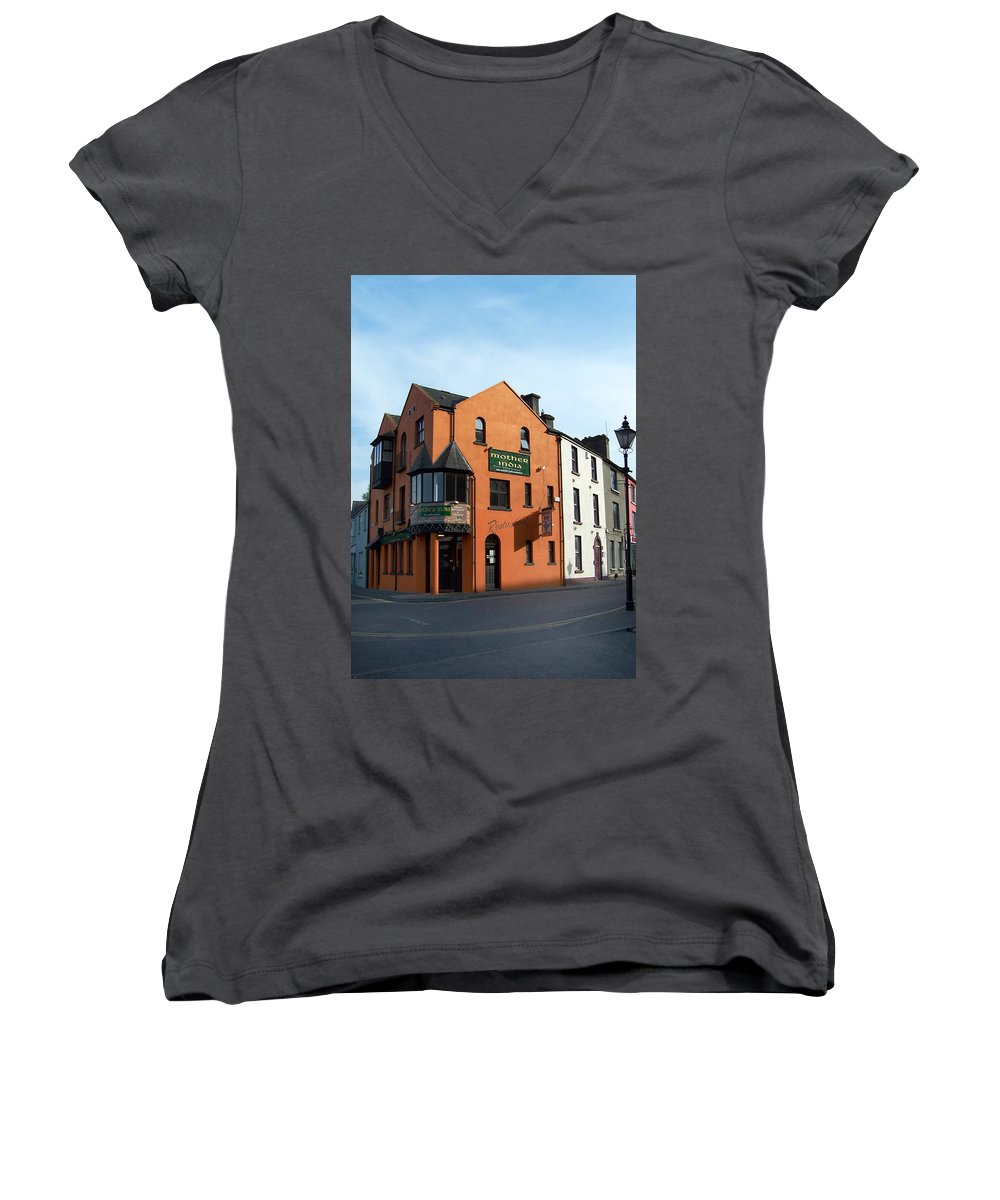 Ireland Women's V-Neck T-Shirt featuring the photograph Mother India Restaurant Athlone Ireland by Teresa Mucha