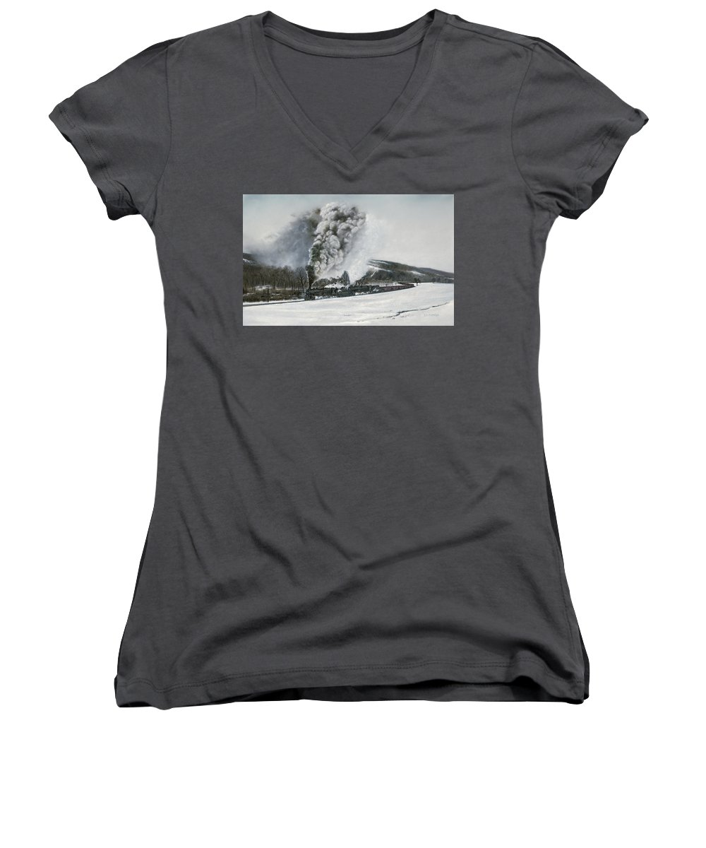 Trains Women's V-Neck T-Shirt featuring the painting Mount Carmel Eruption by David Mittner