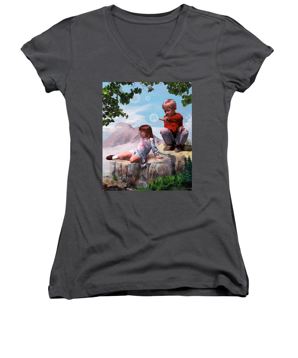 Landscape Women's V-Neck T-Shirt (Junior Cut) featuring the painting Mount Innocence by Steve Karol