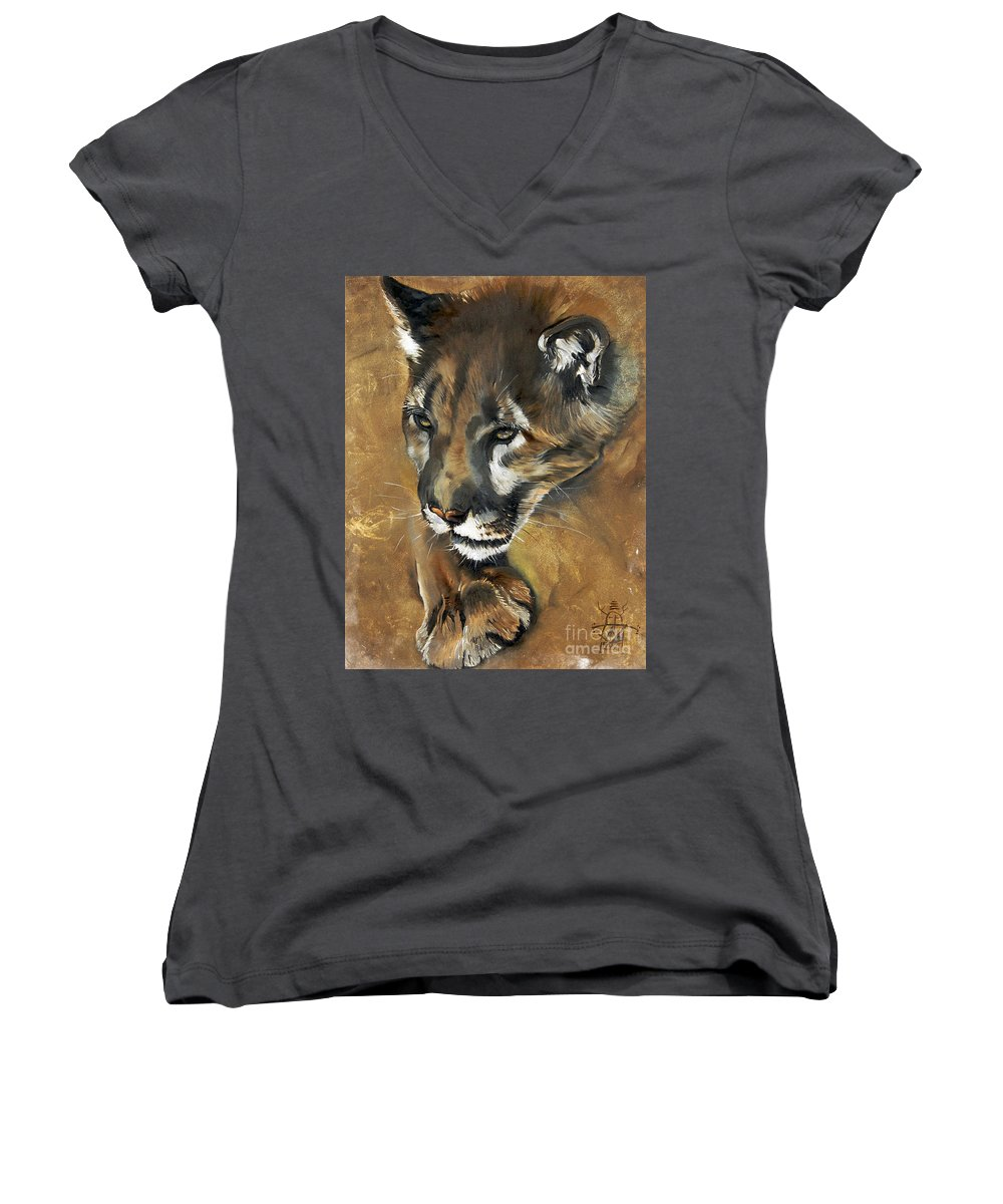 Southwest Art Women's V-Neck T-Shirt featuring the painting Mountain Lion - Guardian Of The North by J W Baker