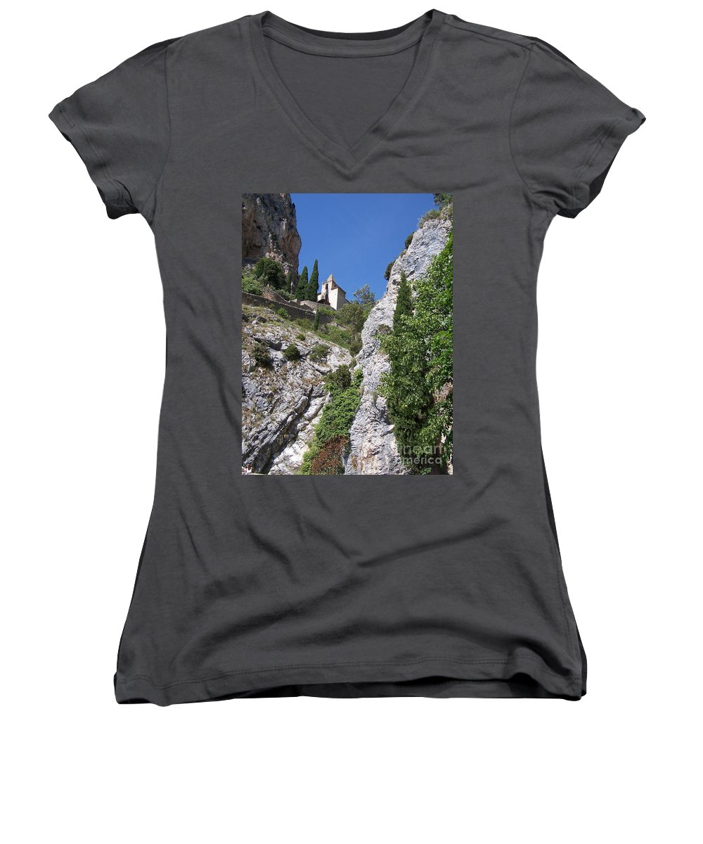 Church Women's V-Neck (Athletic Fit) featuring the photograph Moustier St. Marie Church by Nadine Rippelmeyer