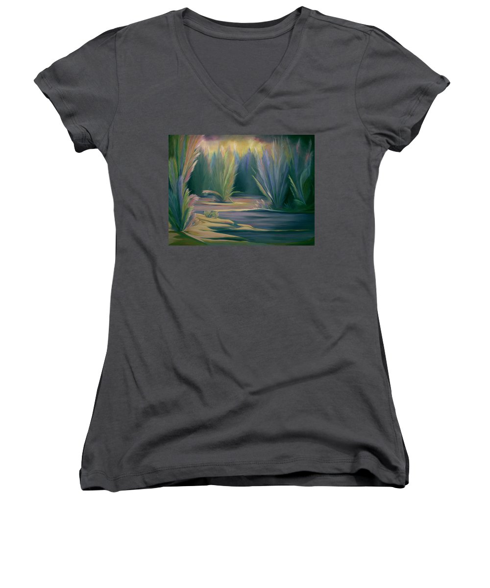 Feathers Women's V-Neck T-Shirt featuring the painting Mural Field Of Feathers by Nancy Griswold