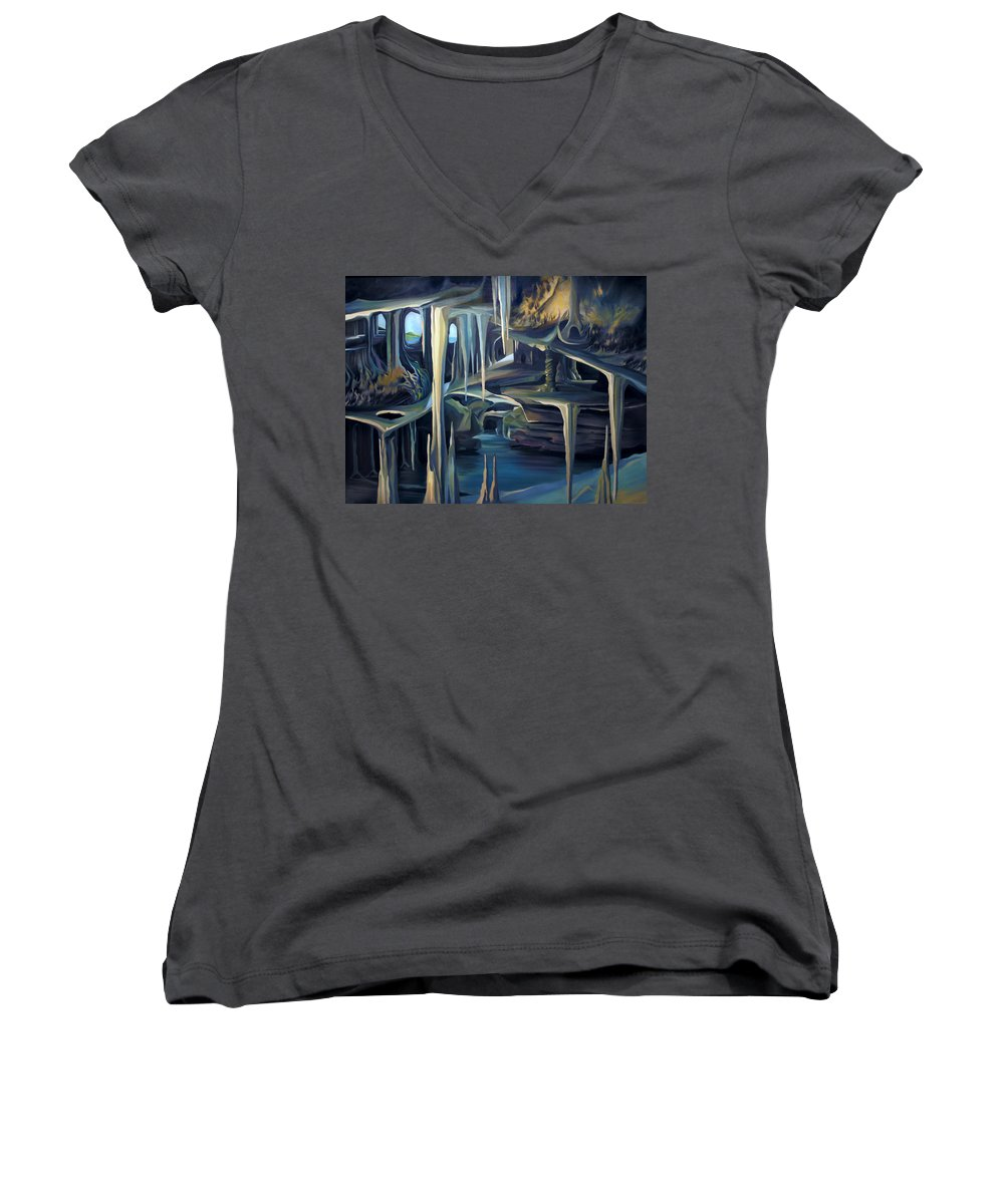 Mural Women's V-Neck (Athletic Fit) featuring the painting Mural Ice Monks In November by Nancy Griswold