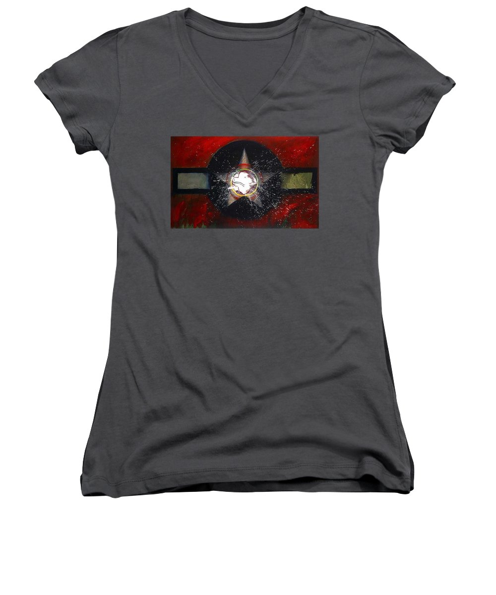Usaaf Insignia Women's V-Neck T-Shirt featuring the painting My Indian Red by Charles Stuart
