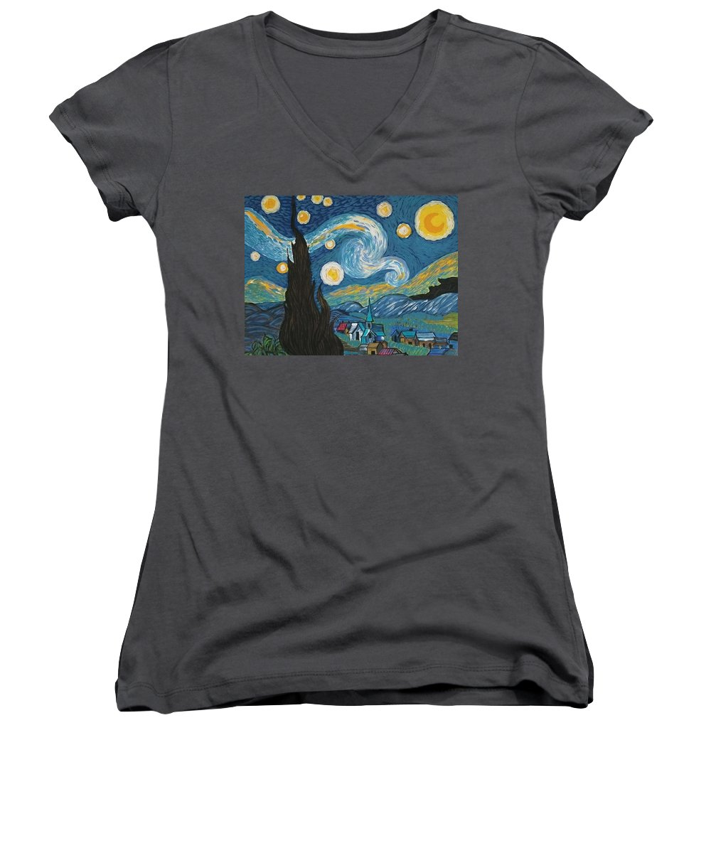 Vincent Women's V-Neck T-Shirt featuring the painting My Starry Nite by Angela Miles Varnado