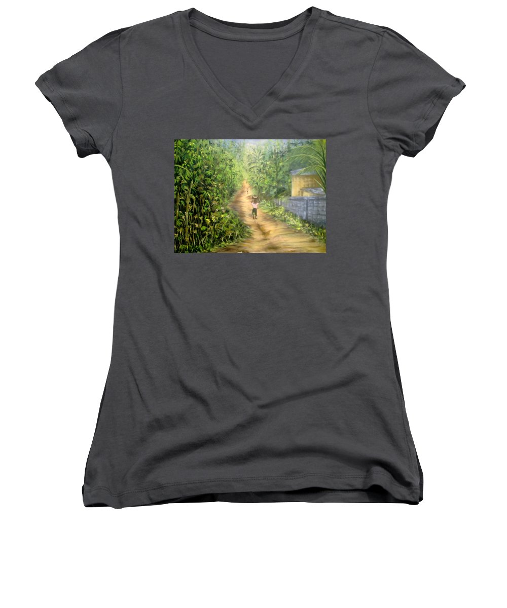 Culture Women's V-Neck T-Shirt featuring the painting My Village by Olaoluwa Smith