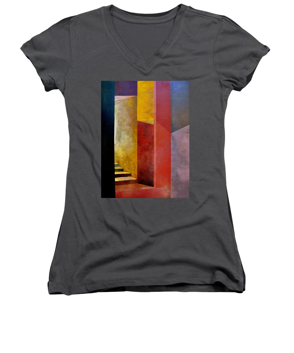 Gold Women's V-Neck (Athletic Fit) featuring the painting Mystery Stairway by Michelle Calkins