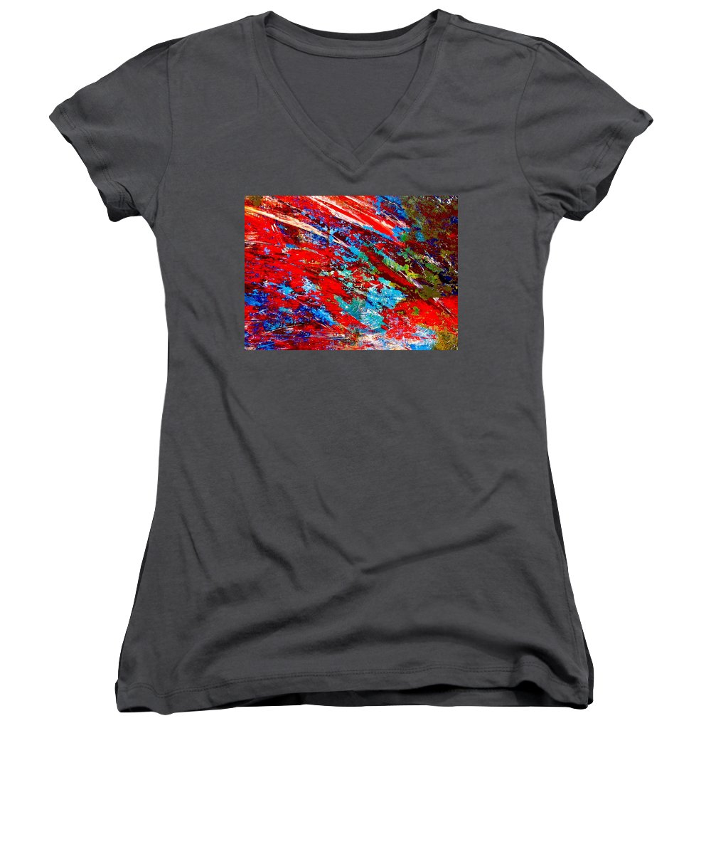 Abstract Women's V-Neck (Athletic Fit) featuring the painting Nature Harmony by Natalie Holland