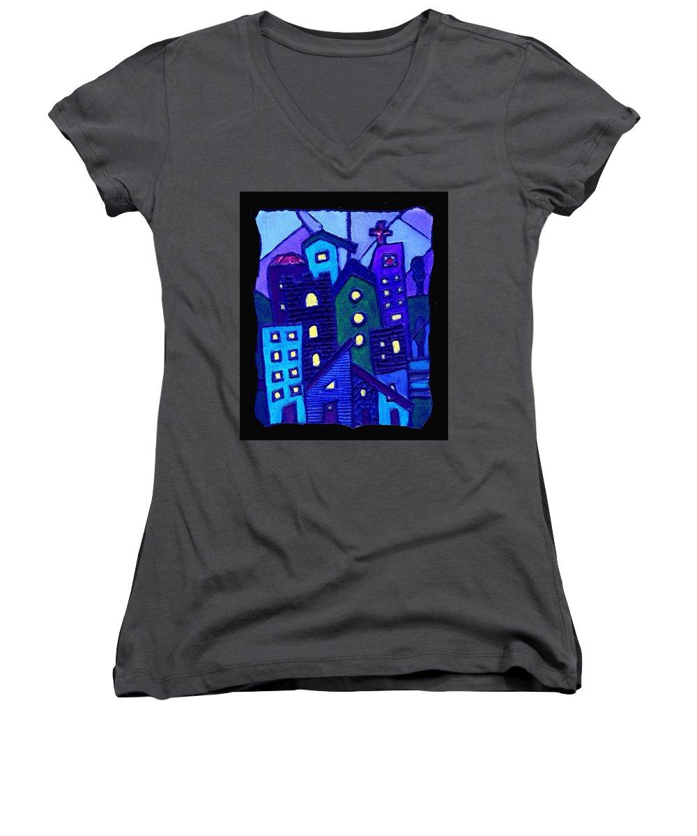 Urban Women's V-Neck T-Shirt featuring the painting Neighborhood Blues by Wayne Potrafka