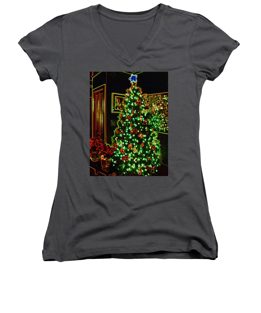 Christmas Women's V-Neck T-Shirt featuring the photograph Neon Christmas Tree by Nancy Mueller