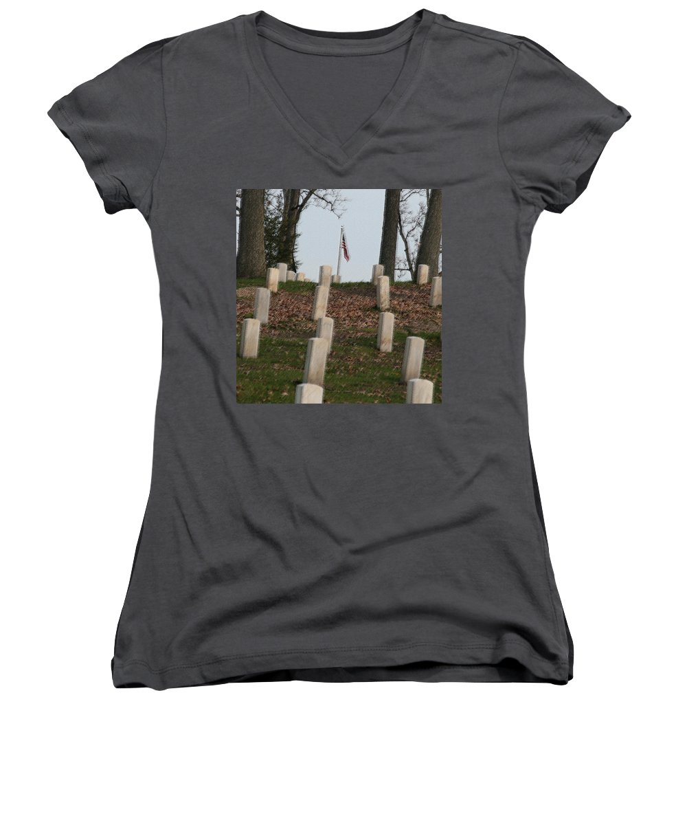 America Women's V-Neck (Athletic Fit) featuring the photograph Never Forget The Cost by Robert Pearson
