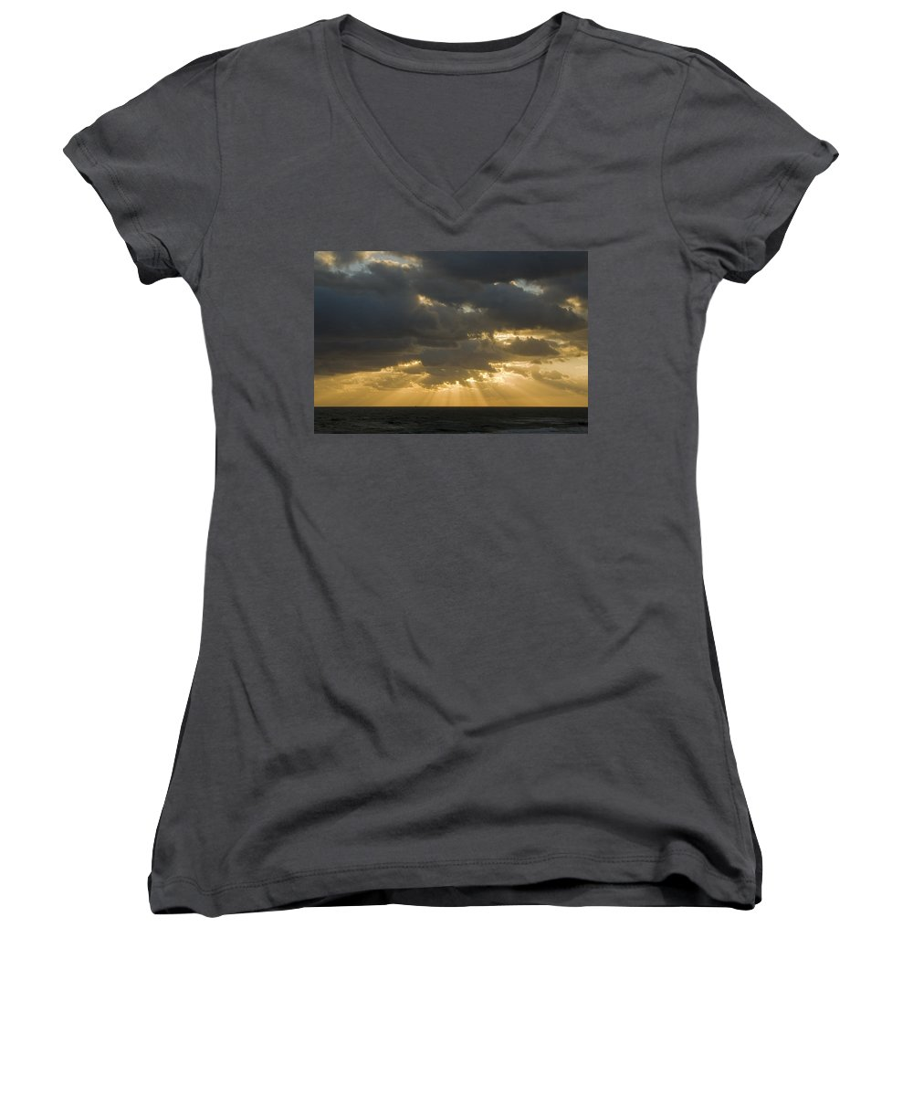 Ocean Sunset Sun Cloud Clouds Ray Rays Beam Beams Bright Wave Waves Water Sea Beach Golden Nature Women's V-Neck T-Shirt featuring the photograph New Beginning by Andrei Shliakhau