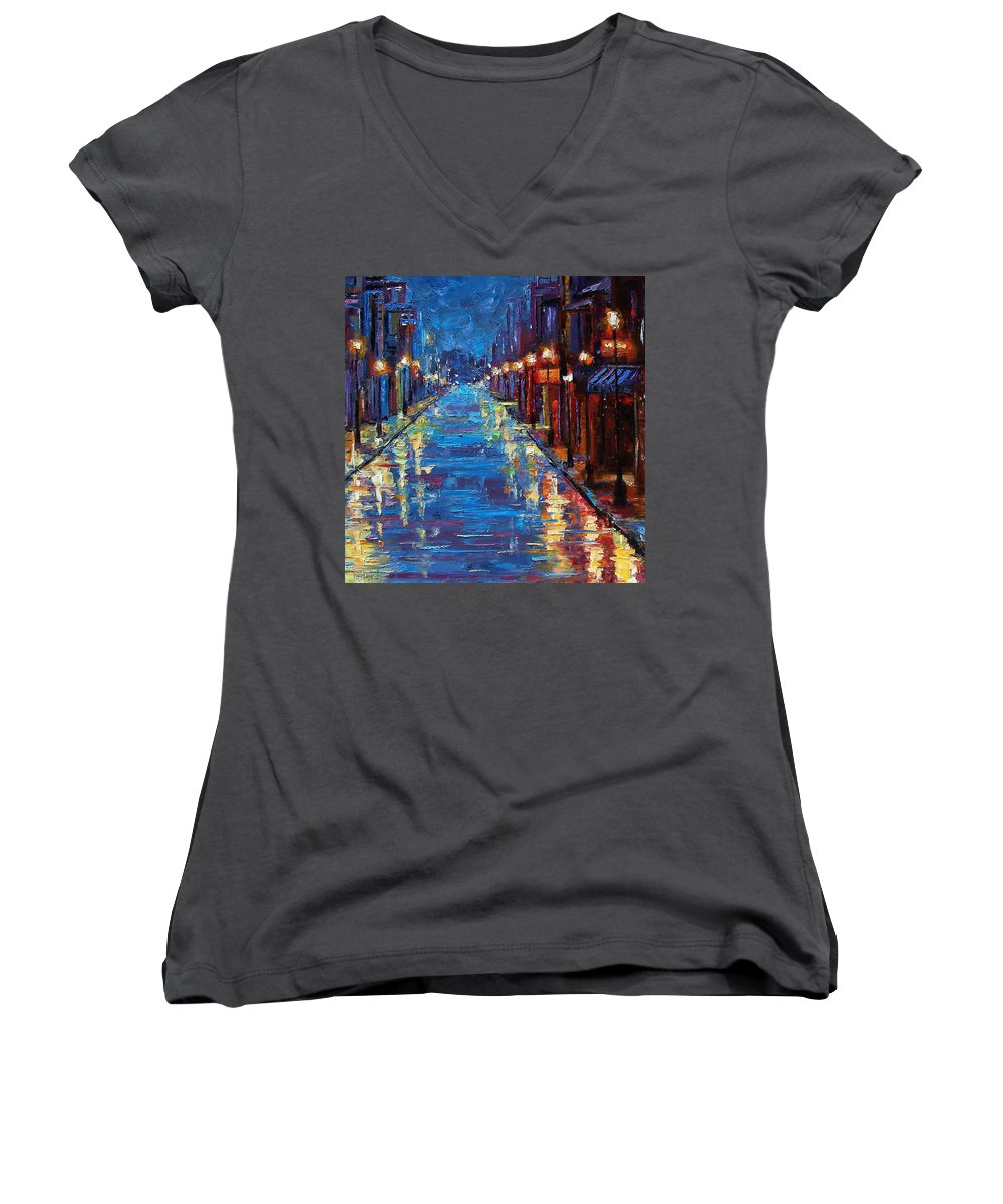 Cityscape Women's V-Neck T-Shirt featuring the painting New Orleans Bourbon Street by Debra Hurd