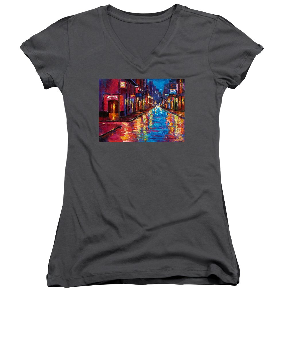 New Orleans Women's V-Neck (Athletic Fit) featuring the painting New Orleans Magic by Debra Hurd