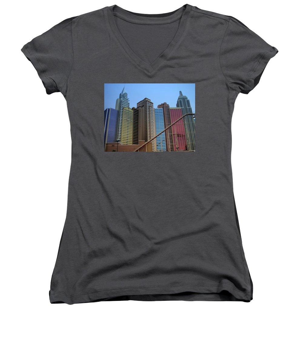 Vegas Women's V-Neck T-Shirt featuring the photograph New York Hotel by Anita Burgermeister