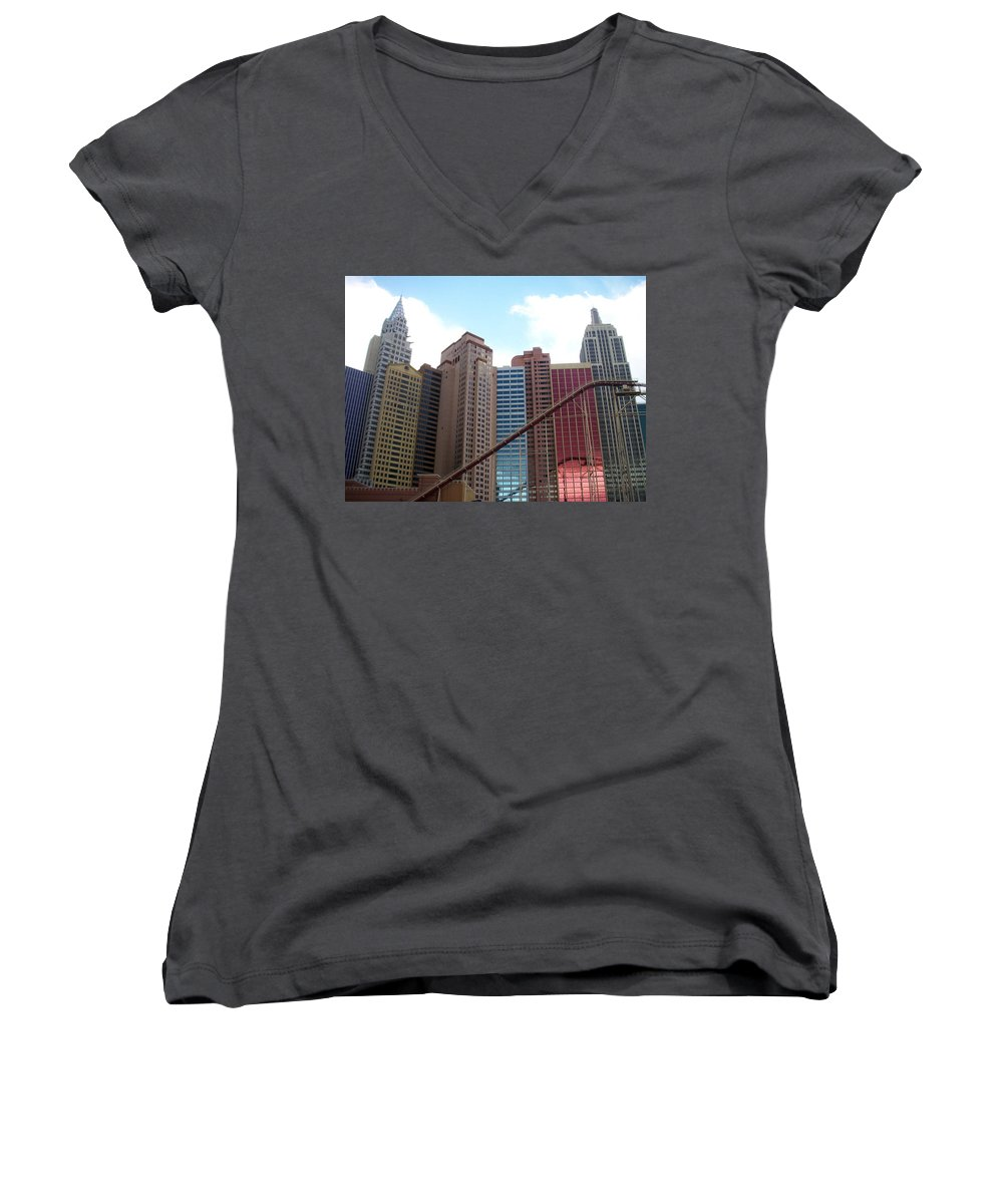 Vegas Women's V-Neck (Athletic Fit) featuring the photograph New York Hotel With Clouds by Anita Burgermeister