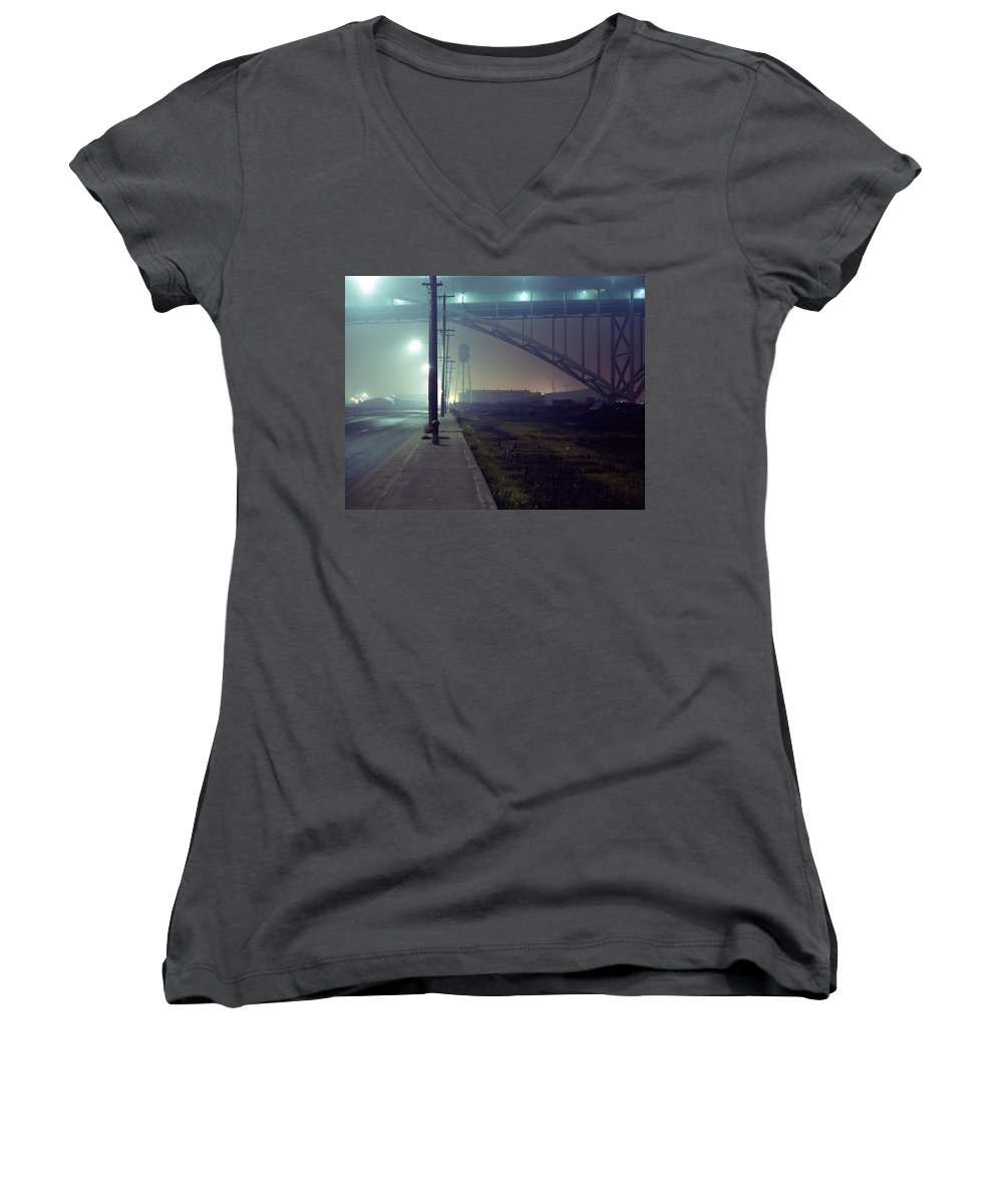 Night Photo Women's V-Neck T-Shirt featuring the photograph Nightscape 2 by Lee Santa