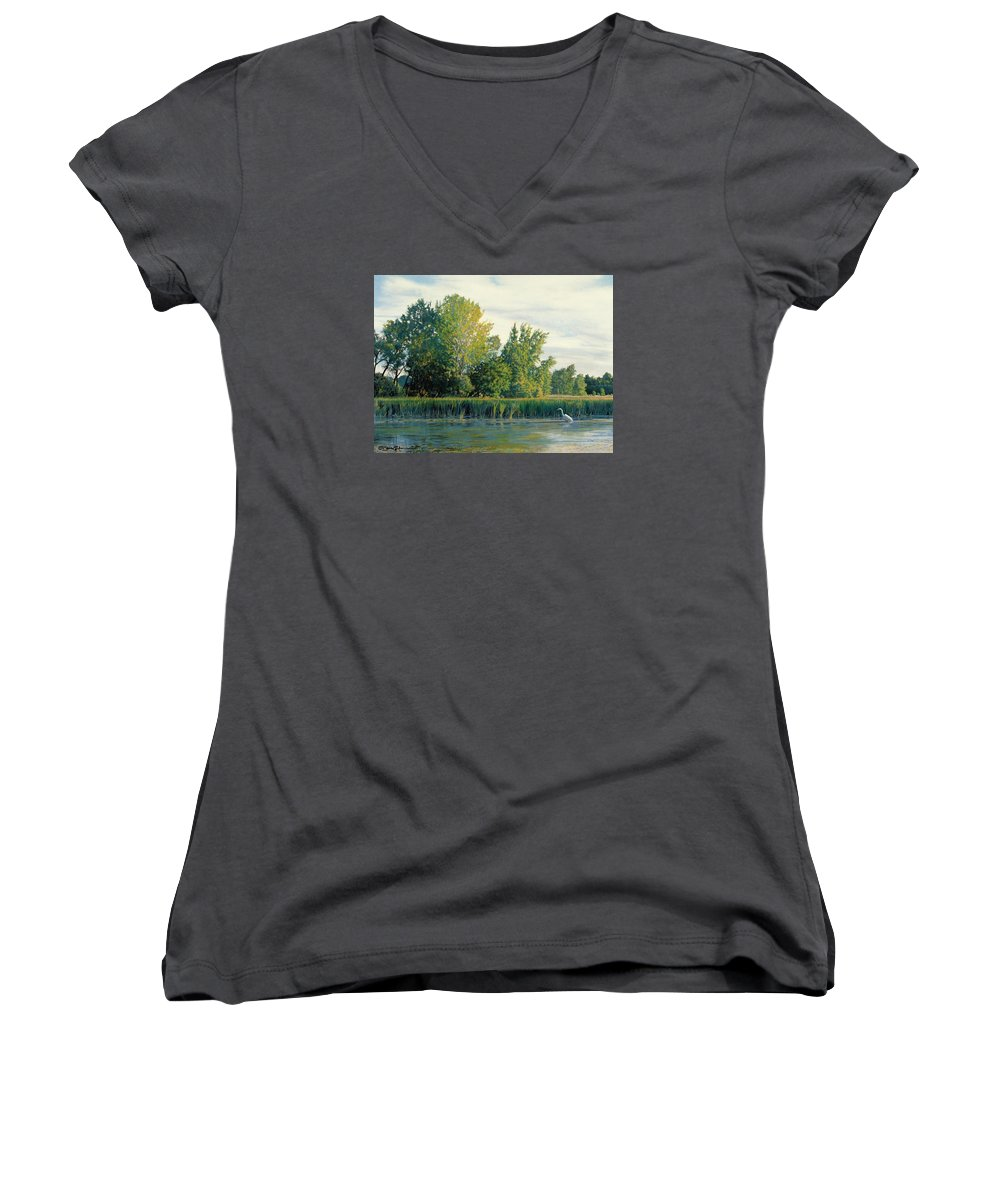 Great Egret Women's V-Neck T-Shirt featuring the drawing North Of The Grade-great Egret by Bruce Morrison