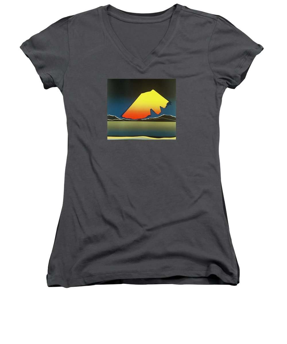 Landscape Women's V-Neck T-Shirt featuring the mixed media Northern Light. by Jarle Rosseland