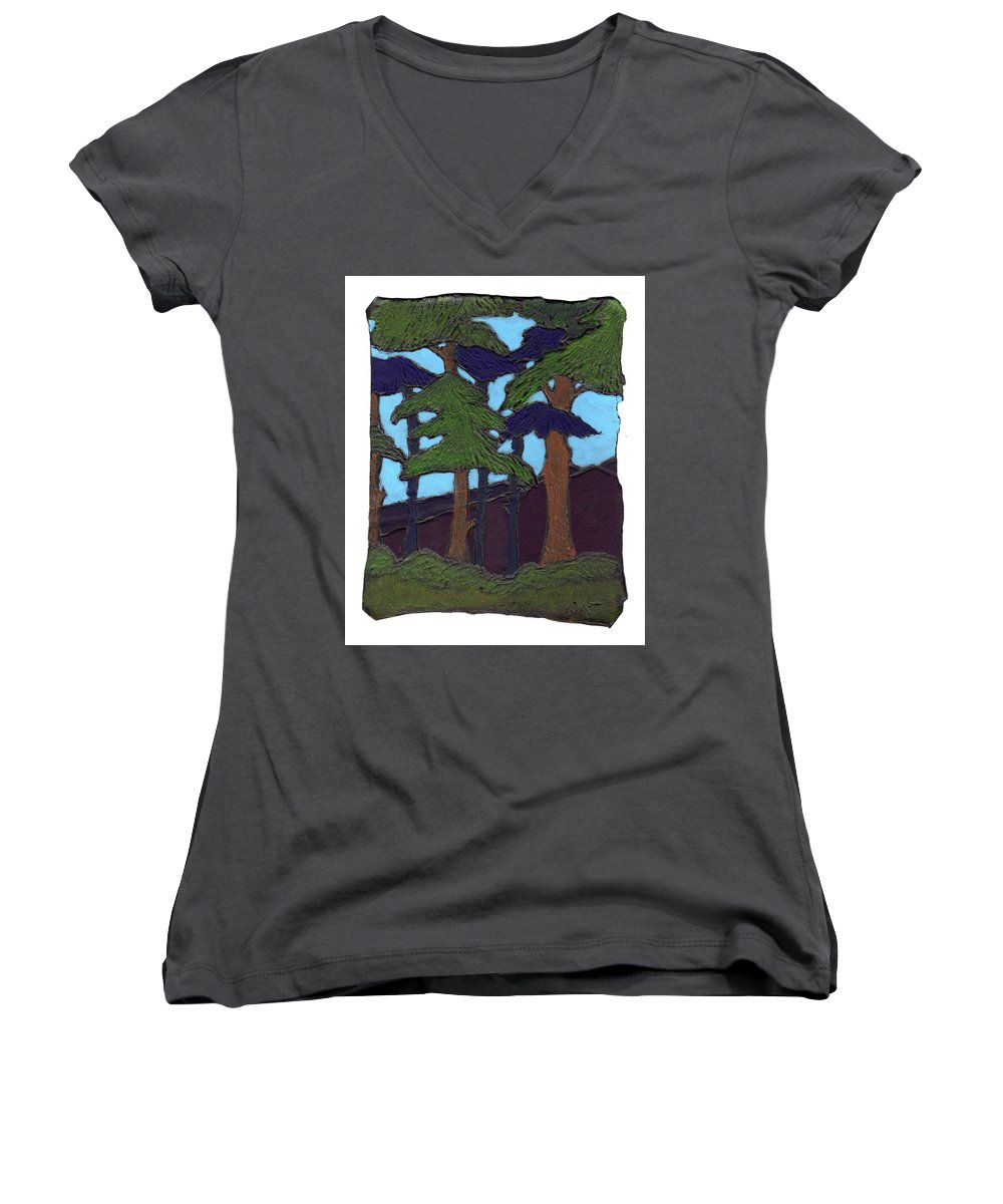 Tree Women's V-Neck (Athletic Fit) featuring the painting Northern Woods by Wayne Potrafka
