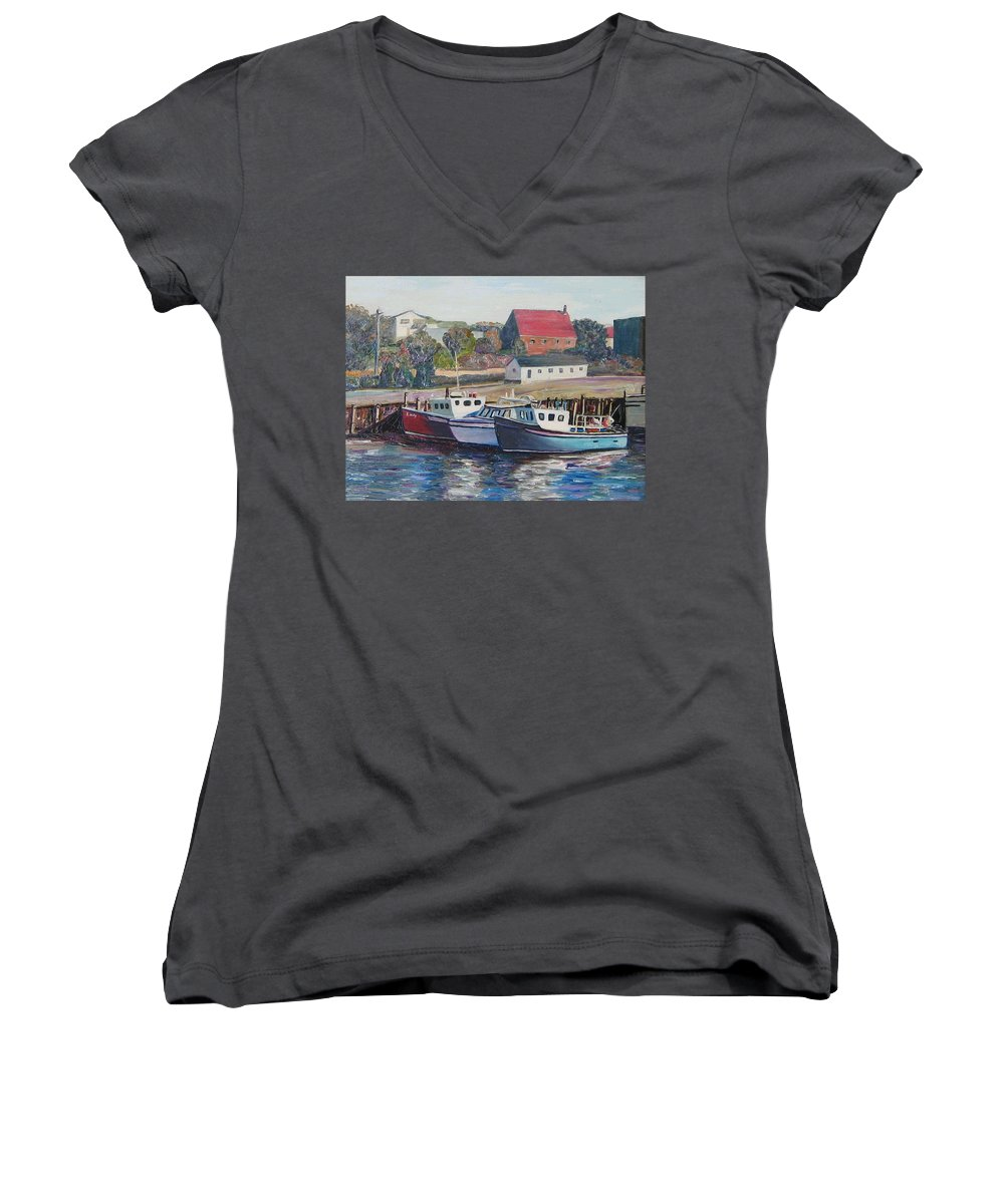 Nova Scotia Women's V-Neck (Athletic Fit) featuring the painting Nova Scotia Boats by Richard Nowak