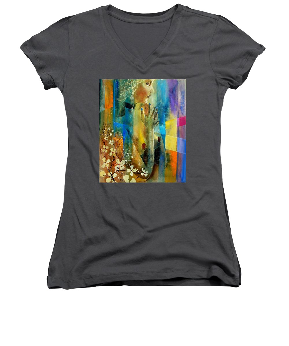 Nude Women's V-Neck (Athletic Fit) featuring the painting Nude 5609082 by Pol Ledent