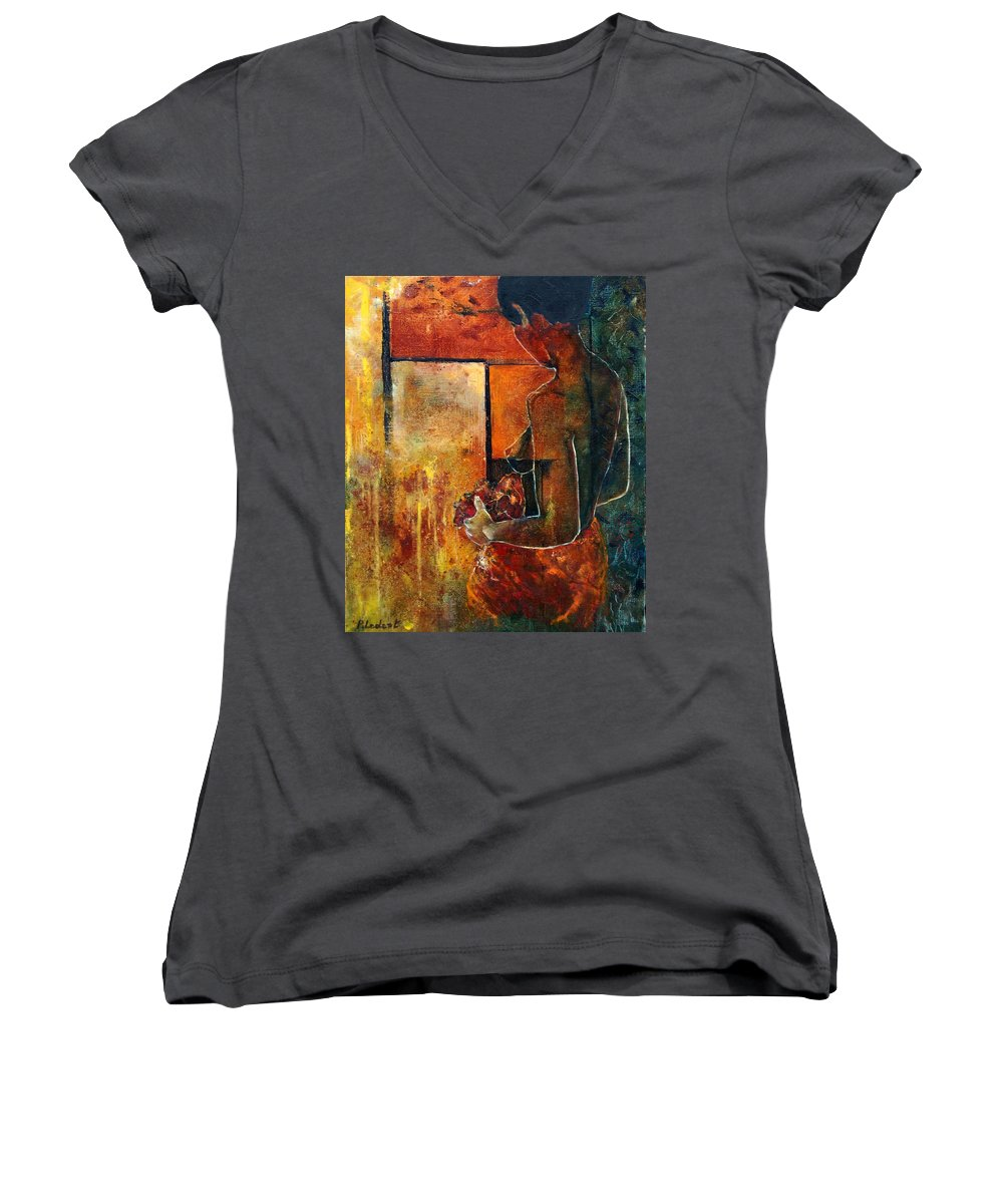Woman Girl Fashion Nude Women's V-Neck T-Shirt featuring the painting Nude by Pol Ledent