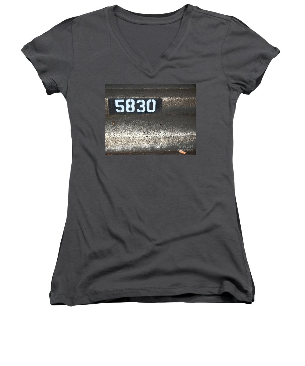 Numbers Women's V-Neck (Athletic Fit) featuring the photograph Numbers by Debbi Granruth